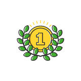 Vector business illustration of gold medal with leaves icon in flat line style. Graphic design concept of winner or champion on contest. Use in Web Project and Royalty Free Stock Images