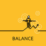 Vector business illustration linear balance as man goes. Vector business illustration in linear style with a picture of balance as man goes on yellow background Royalty Free Stock Image