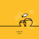 Vector business illustration linear comfort zone as aquarium. Vector business illustration in linear style with a picture of comfort zone as aquarium on yellow Royalty Free Stock Image