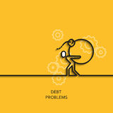 Vector business illustration linear with debt problems as man carries. Vector business illustration in linear style with a picture of debt problems as man Royalty Free Stock Photos