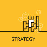 Vector business illustration in linear of strategy as game. Vector business illustration in linear style with a picture of strategy as game on yellow background Stock Images