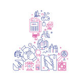 Vector business illustration in linear style. Vector business illustration with icons and signs in linear style components of the business man on white Stock Photos