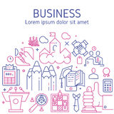 Vector business illustration in linear style. Vector business illustration with icons and signs in linear style components of the business project on white Stock Image