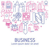 Vector business illustration in linear style. Vector business illustration with icons and signs in linear style components of the business project on white Royalty Free Stock Photos