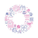 Vector business illustration in linear style. Vector business illustration with icons and signs in linear style components of the business project on white Stock Photography