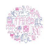 Vector business illustration in linear style. Vector business illustration with icons and signs in linear style components of the business project on white Royalty Free Stock Photography