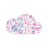 Vector business illustration in linear style. Vector business illustration with icons and signs in linear style components of the business project on white Stock Photo