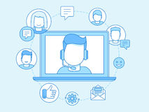 Vector business illustration in trendy linear style and blue col. Ors related to customer support and online consultant - manager on the screen of laptop Stock Images