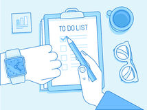Vector business illustration in trendy linear style and blue col. Ors related to time management and task organization - human hands and to do list on a paper Royalty Free Stock Image