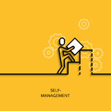 Vector business illustrationlinear self-management as man builds a graph Stock Photos