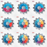 Vector business and industry gear style circle infographic templates for graphs, charts, diagrams and other infographics. Royalty Free Stock Images