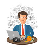 Vector business infographics. businessman in office working on laptop Stock Photo