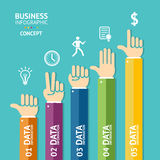 Vector business infographics with hands. Flat Royalty Free Stock Photography