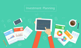 Vector business investment planning on device technology. Business planning on device technology concept Stock Photo