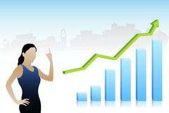 Vector Business Lady showing Profit. Easy to edit vector illustration of business lady showing profit vector illustration
