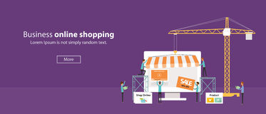 Vector business on line shop .Create On line Store.people business .flat banner web. Business creat online shopping concept Stock Image