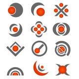 Vector business logo design - grey/orange. Set of twelve  business logo, grey/orange color,isolated on white.EPS file available Stock Image