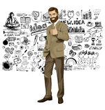 Vector Business Man With Beard Shows Well Done Stock Photography
