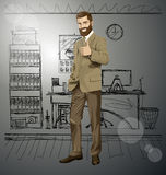 Vector Business Man With Beard Shows Well Done Stock Photo