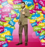 Vector Business Man With Beard Shows Well Done Royalty Free Stock Photos