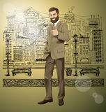 Vector Business Man With Beard Shows Well Done Royalty Free Stock Photography