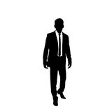 Vector business man black silhouette walk step. Forward full length over white background wear suit and tie vector illustration Royalty Free Stock Photo