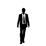 Vector business man black silhouette walk step. Forward full length over white background wear suit and tie vector illustration Stock Image