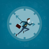 Vector business man competitive with business time. Business competitive with time concept Royalty Free Stock Photo