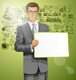 Vector Business Man with Empty Write Board Royalty Free Stock Image
