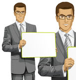 Vector Business Man with Empty Write Board Royalty Free Stock Photos