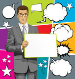 Vector Business Man with Empty Write Boardr And Bubble Speech Royalty Free Stock Photography