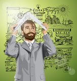 Vector Business Man Hides Under The Laptop Royalty Free Stock Images