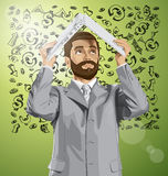 Vector Business Man Hides Under The Laptop Stock Images