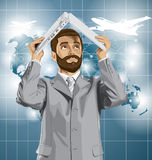 Vector Business Man Hides Under The Laptop Stock Photo