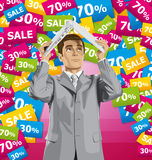 Vector Business Man Hides Under The Laptop Royalty Free Stock Photo