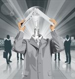 Vector Business Man Hides Under The Laptop Royalty Free Stock Photos