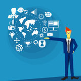 Vector business man with icons communication technology Stock Photography