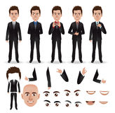 Vector business man with parts of the body. Template for design work Royalty Free Stock Image