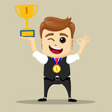 Vector business man with prize. Victorious Businessman. Successful manager character Royalty Free Stock Photos