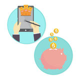 Vector of business man saving money piggy bank online Stock Photography