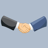Vector business man shaking hands. Strong and firm handshake clap. Modern flat style vector illustration isolated. Business man shaking hands. Strong and firm Stock Image