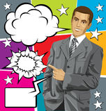 Vector Business Man Show Something With Finger And Big Set Of Bu Royalty Free Stock Image