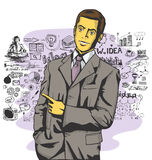 Vector Business Man Show Something With Finger Stock Image
