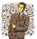 Vector Business Man Show Something With Finger Stock Images