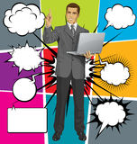 Vector Business Man Shows Something With Finger And Bubble Speec Royalty Free Stock Photography