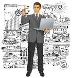 Vector Business Man Shows Something With Finger Royalty Free Stock Images