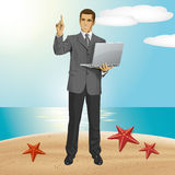 Vector Business Man Shows Something With Finger Royalty Free Stock Photos