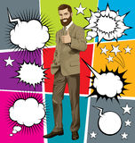 Vector Business Man Shows Well Done With Bubble Speech Stock Photo