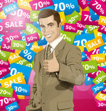 Vector Business Man Shows Well Done Royalty Free Stock Images