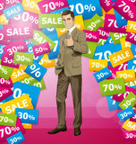 Vector Business Man Shows Well Done Royalty Free Stock Photography